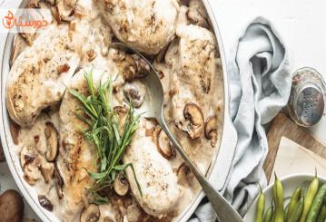 طرز تهیه خوراک مرغ و قارچ رژیمی